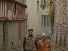 Dad and mom strolling around beautiful Semur-en-Auxois. Too bad the weather wasn't cooperating!