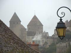 Early morning misty view of Semur-en-Auxois