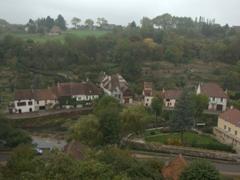View of lower Semur-en-Auxois as seen from its pink granite bluff
