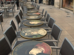 Outdoor cafe in the Liberation Square; Dijon