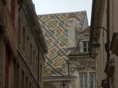 Multicolored glazed tile roof that Burgundy is world famous for; Dijon