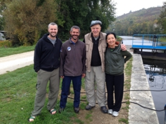 Posing with our favorite lock keeper on the Canal du Nivernais