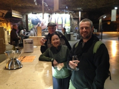 Enjoying the free samples of wine and crémant; Les Caves Bailly Lapierre