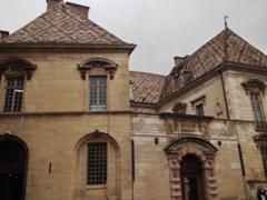Typical Burgundy multi colored glazed tile roof; Dijon
