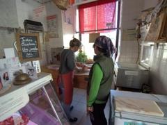Mom buying lamb at our favorite boucherie in Cravant