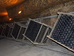 Riddling of the crémant is done by gyroplate (the winery has about 80 of these devices); Les Caves Bailly Lapierre