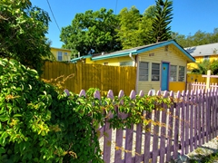 Cute painted cottage at the Village of the Arts; Bradenton