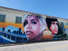 Mural of two teenagers anxious to explore the world; downtown Bradenton