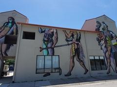 Larger than life mural of Timucua Indians, Florida's earliest inhabitants
