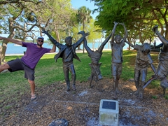 Robby at the Olympic Wannabes Statue; Sarasota