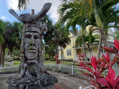 """This massive 6,000 lb wooden sculpture named """"Calostimucu"""" was carved from a monkey pod tree by artist Peter Wolf Toth; Punta Gorda"""