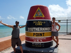 Striking a pose at the Southernmost Point Buoy