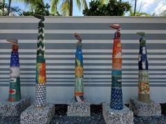 Pelican totem poles outside The Marker; Key West Bight Marina