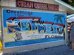 Robby at a Key West mural at Cuban Coffee Queen