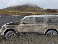 "Advertisement for Netflix's tv show ""Katla"" at the base of Geldingadalir, Iceland's newest volcano"