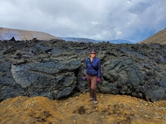 Becky at the edge of the lava flow