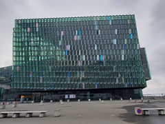 Concert hall Harpa, famous for its glass facade