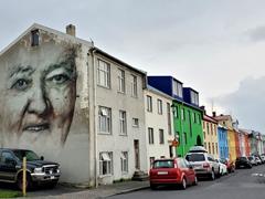 """Man of the house"" mural; Reykjavík"