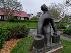 Water carrier statue in downtown Reykjavík