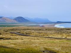 View looking back towards the coastline from the Rauðfeldsgjá Ravine