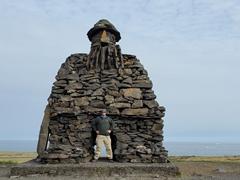 Robby standing at Bárður Snæfellsás (half man, half troll), the mythical protector of the Snæfellsnes Peninsula