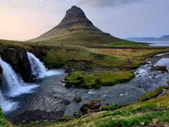 Mt. Kirkjufell and Kirkjufellsfoss in Grundarfjörður, the most photographed waterfall on the Snæfellsnes Peninsula