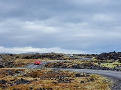 The curvy road leading to Öndverðarnes and Saxhólsbjarg Cliffs