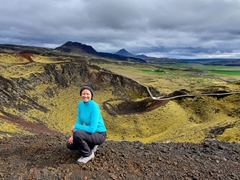 Becky at the top of Grábrók Crater