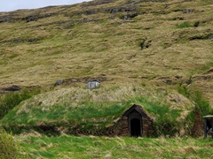 Turf house of Eiríksstaðir, which is the former homestead of Erik the Red, birth place of his son Leif Eiriksson
