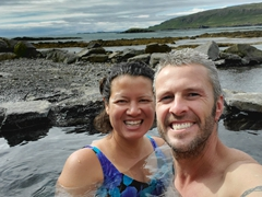 Soaking in the hot pot of Hellulaug; Westfjords