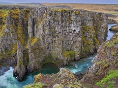 Kolugljúfur Canyon is 60 meters wide, 40 meters deep and 1 km long - definitely a highlight of north Iceland