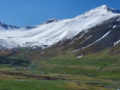 Mountain road leading out of Siglufjörður