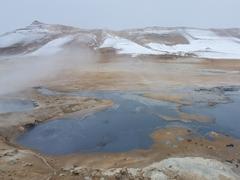 Bubbling pools of mud and sulphurous mud springs; Hverir