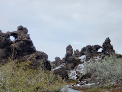 Hiking around Dimmuborgir (Black Fortress) lava field; Lake Mývatn area