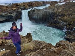 Becky at the lovely waterfall of Aldeyjarfoss