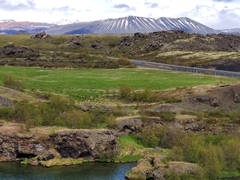 View of Hverfjall, a giant circular explosion crater near Lake Mývatn