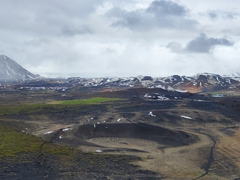 A view of the surrounding volcanic countryside of Hverfjall Crater, visible after an easy 20 minute hike to the top of the crater