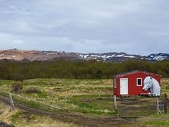Horse painted shed near Lake Mývatn
