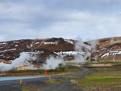 Steam rising from the ground near Blue Lake; Mývatn
