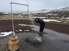 Becky at the Krafla geothermal shower