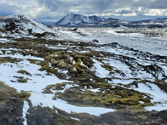 Volcanic rocks covered with snow and moss; Leirhnjúkur