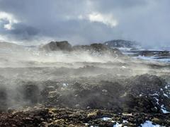 Fumaroles at the Krafla caldera; Leirhnjúkur
