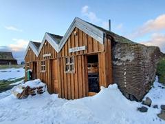 Turf roof gas station at Möðrudalur Farm