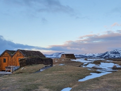 Turf roofed toilets and laundry facilities; Möðrudalur campsite