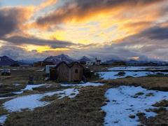 A gorgeous sunset at midnight; Möðrudalur campsite