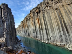 The basalt rock columns combined with this glacial river make Stuðlagil Canyon a hidden gem