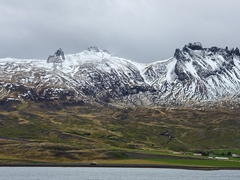 Snow capped mountain; East Fjords