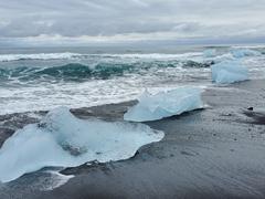 Diamond beach - where iceberg fragments collect on a striking black sand beach
