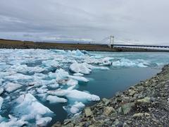 Icebergs from Jökulsárlón lagoon drift out to sea