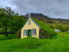 The last turf church ever built in Iceland, the pretty Hofskirkja (one of only 6 turf churches remaining)